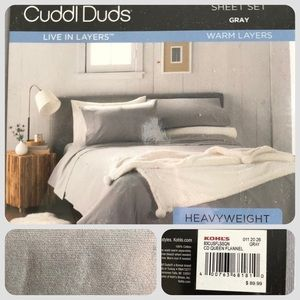 Flannel Colton Sheet Set Gray Cuddl Duds NWT